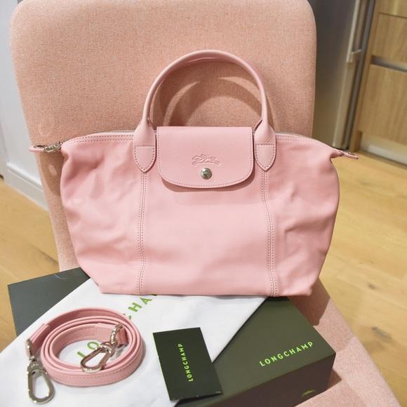 f653da262482 Longchamp Le Pliage Cuir Small Pink Leather